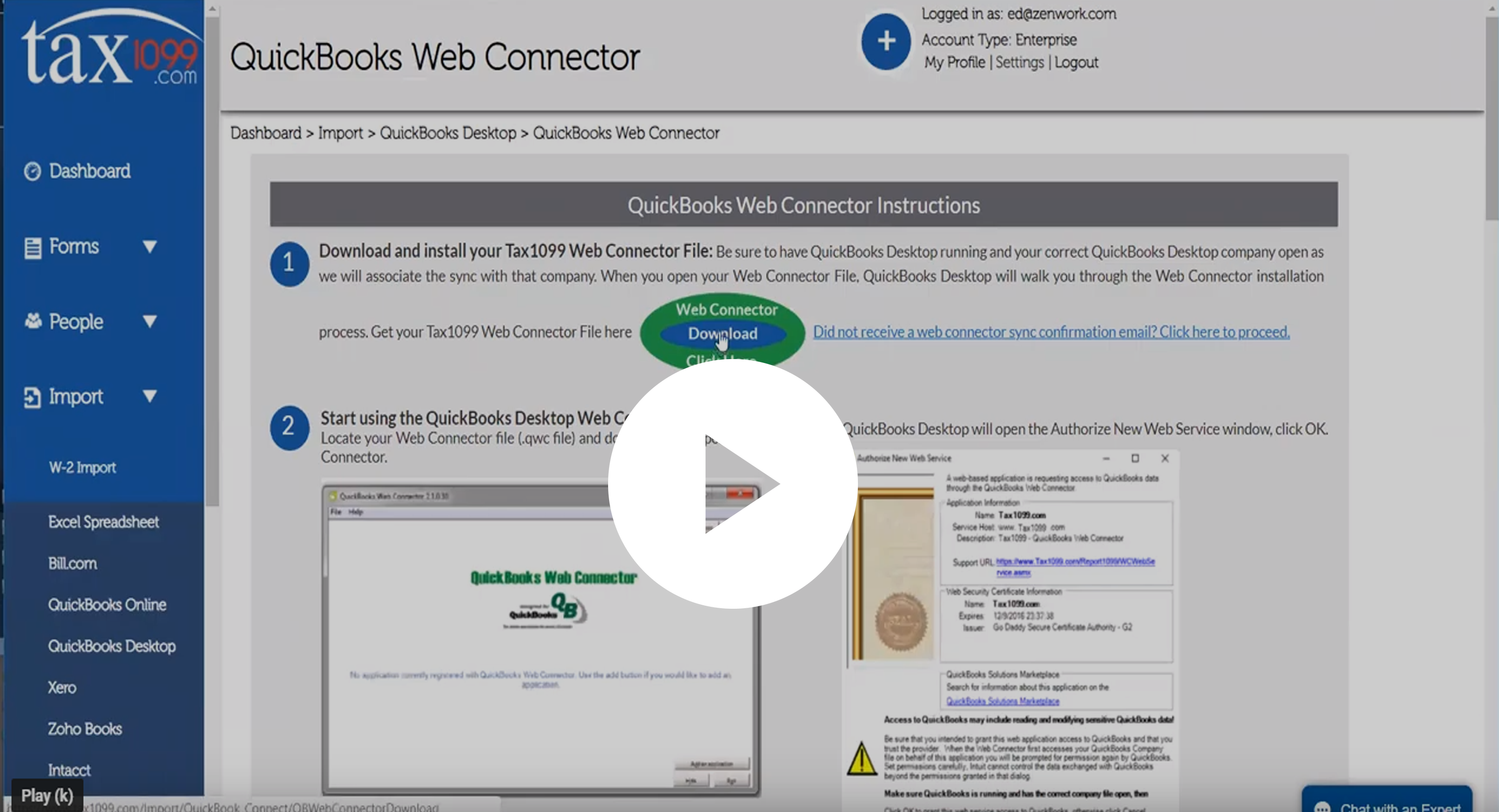 Quickbooks Web Connector Tax1099
