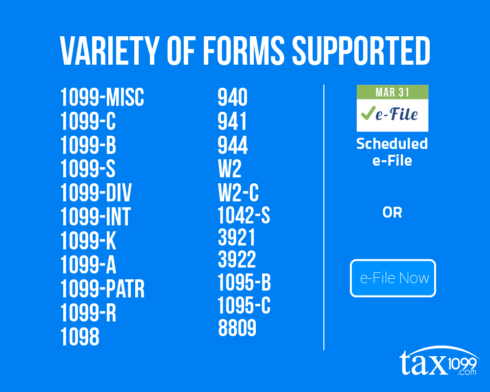 Variety of Tax Forms Supported